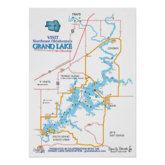 壮大な湖のOKの地図 ポスター