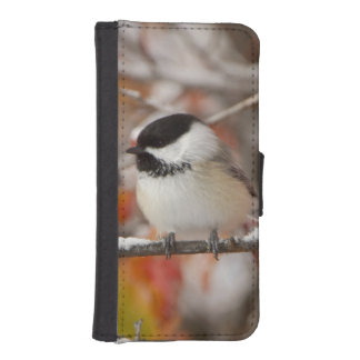 壮大な雪の大人によって黒おおわれる《鳥》アメリカゴガラ iPhoneSE/5/5sウォレットケース