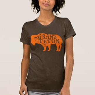 壮大なTetonのバッファローのオレンジ Tシャツ