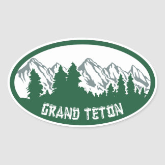 壮大なTetonの国立公園のパノラマ 楕円形シール