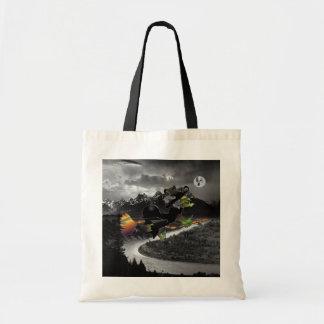 壮大なTetons著幽霊の月を追跡している魔法使い トートバッグ