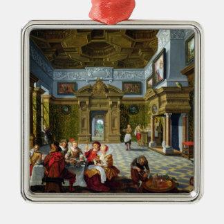 壮麗な部屋のインテリア、1622年(キャンバスの油) シルバーカラー正方形オーナメント