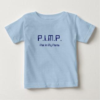 売春あっせん業者(私のズボンの小便)の新生児のワイシャツ7のサイファイ ベビーTシャツ