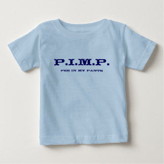 売春あっせん業者(私のズボンの小便)の新生児のワイシャツ9のフロンティア ベビーTシャツ