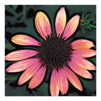 変えられた芸術のポップアートのショッキングピンクのグランジな花 フォトプリント