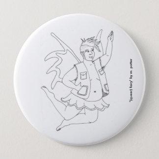 (変な)妖精ボタン 10.2CM 丸型バッジ