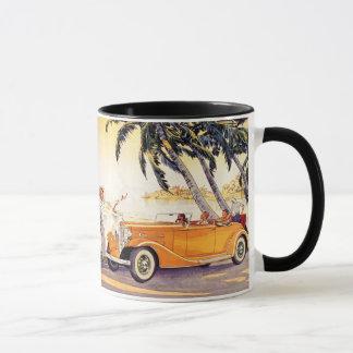 変換可能な車のヴィンテージの家族休暇 マグカップ