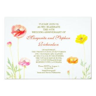 夏によっては庭園の結婚式記念日が開花します 12.7 X 17.8 インビテーションカード