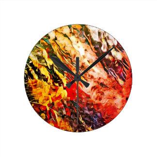 """""""夏によって""""は抽象美術の時計が雨が降ります ラウンド壁時計"""