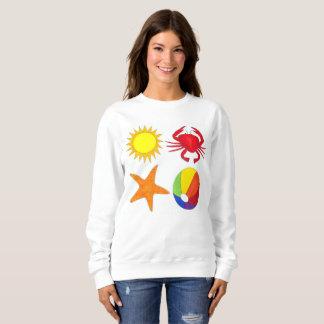 夏のおもしろいのカニのビーチボールの日光のヒトデ スウェットシャツ