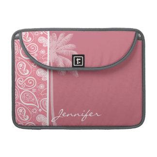 夏のやし; 赤面のピンクのペイズリー; 花柄 MacBook PROスリーブ