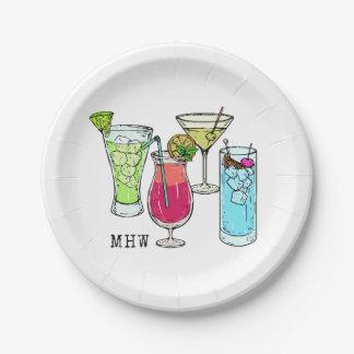 夏のカクテルのカスタムなモノグラムの紙皿 ペーパープレート