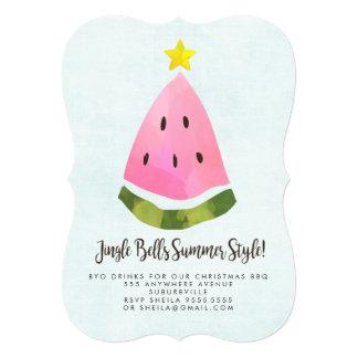 夏のクリスマスのクリスマスBBQのスイカのパーティー カード