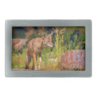 夏のコヨーテの野性生物の絵画 長方形ベルトバックル