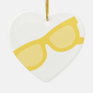 夏のサングラスの黄色いヒップスターのeyewearガラス セラミックオーナメント