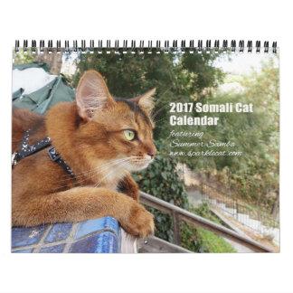 夏のサンバを特色にしている2017ソマリ族猫 カレンダー