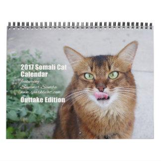 夏のサンバ(カットシーン)を特色にしている2017ソマリ族猫 カレンダー