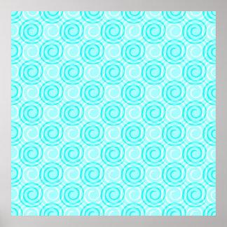 夏のターコイズの渦巻パターン ポスター