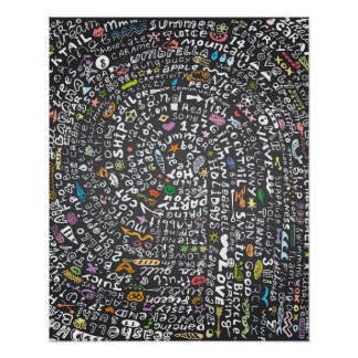 夏のテーマのレタリングが付いている手描きの黒板 ポスター