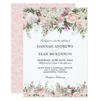 夏のバラ園の花の結婚式 カード