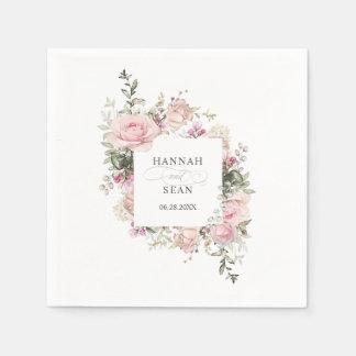 夏のバラ園の花の結婚式 スタンダードカクテルナプキン