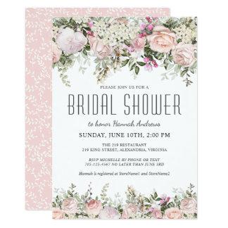 夏のバラ園の花柄のブライダルシャワー カード