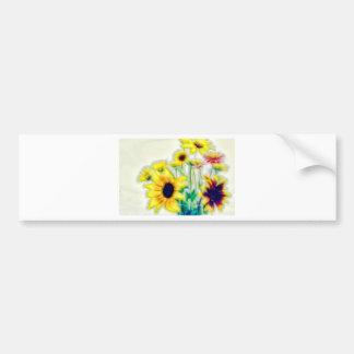 夏のヒマワリおよびStrawflowerの花束 バンパーステッカー