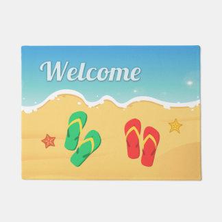 夏のビーチのサンダルのヒトデの屋外の歓迎 ドアマット