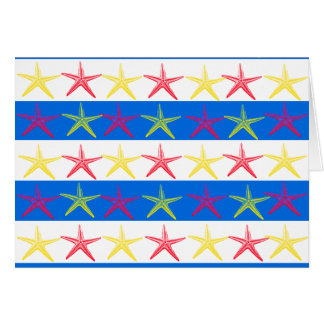 夏のビーチのテーマのヒトデの青い縞模様 カード