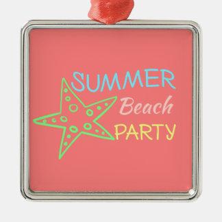 夏のビーチのパーティーのかわいらしいパステル メタルオーナメント