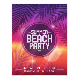 夏のビーチのパーティ夜招待状 カード