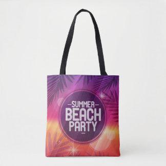 夏のビーチのパーティ夜 トートバッグ