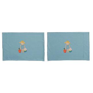 夏のビーチの誕生日の青の女の赤ちゃんの幼児 枕カバー