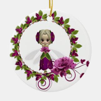 夏のピンクのバラの妖精 セラミックオーナメント