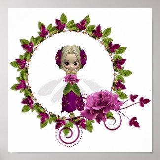 夏のピンクのバラの妖精 ポスター