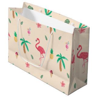 夏のフラミンゴ ラージペーパーバッグ
