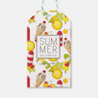 夏のフルーツおよびアイスクリームのおもしろい ギフトタグ
