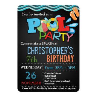 夏のプールのパーティの招待状%PIPE%のプールの誕生会 カード