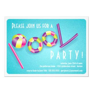 夏のプールを囲んでのパーティのプールの浮遊物の招待状 カード