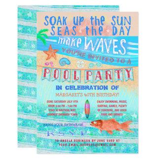 夏のプールを囲んでのパーティの水泳のおもしろいの海の魚およびビーチ カード