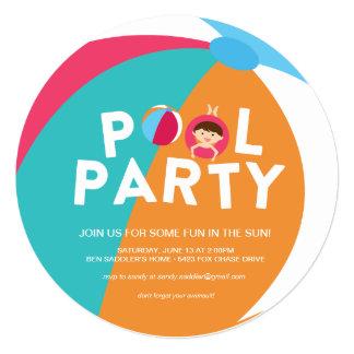 夏のプールを囲んでのパーティ カード