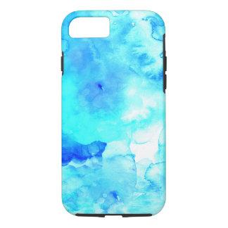 夏のモダンで青い海の手塗りの水彩画 iPhone 7ケース
