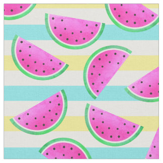 夏の刺激を受けたなピンクのスイカのおもしろいパターン ファブリック