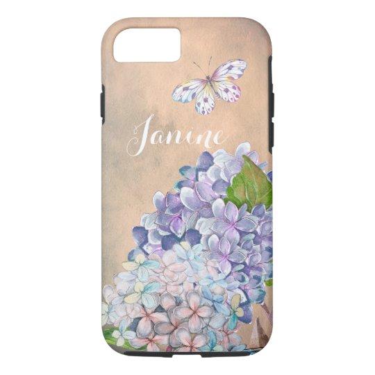 夏の夢の薄紫青いアジサイの花 iPhone 8/7ケース