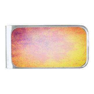 夏の太陽の抽象的な色 シルバー マネークリップ