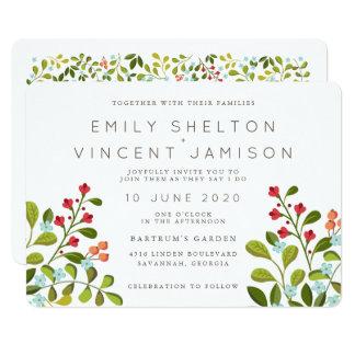 夏の庭の花の結婚式の続きの招待状 カード