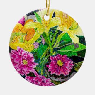 夏の庭の芸術の《植物》百日草ユリ セラミックオーナメント