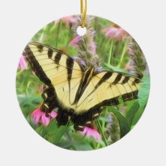 夏の庭の黄色いアゲハチョウの蝶 セラミックオーナメント