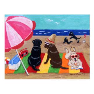 夏の微風のラブラドールの絵を描くこと ポストカード