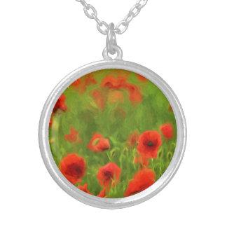 夏の感覚-すばらしいケシによってはIIが開花します シルバープレートネックレス